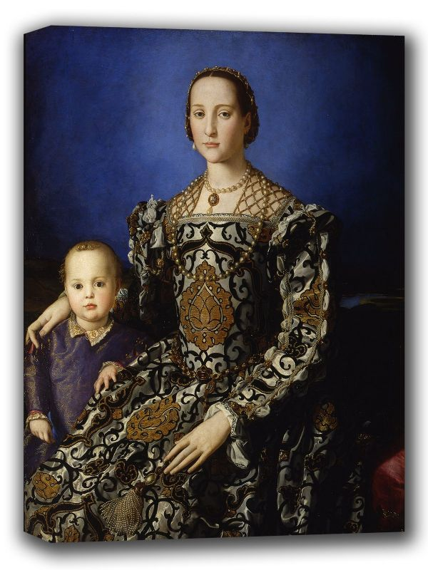 Bronzino, Agnolo: Portrait of Eleonora of Toledo with Her Son, Giovanni de Medici. Fine Art Canvas. Sizes: A4/A3/A2/A1 (001982)
